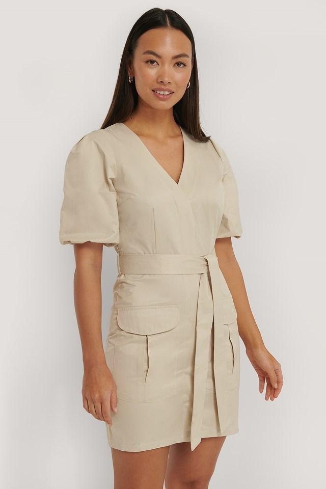Puff Sleeve Pocket Dress Beige