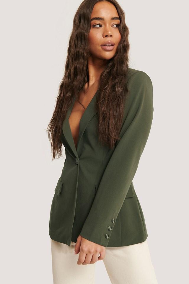 Fitted Blazer Dark Green