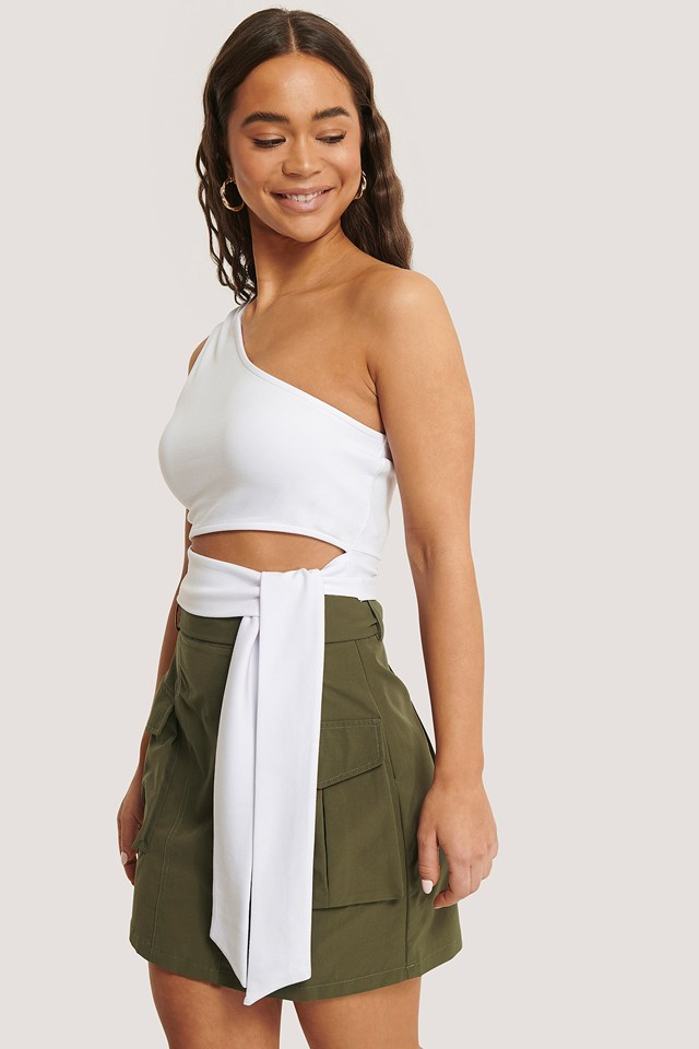 Side Knot Jersey Top White
