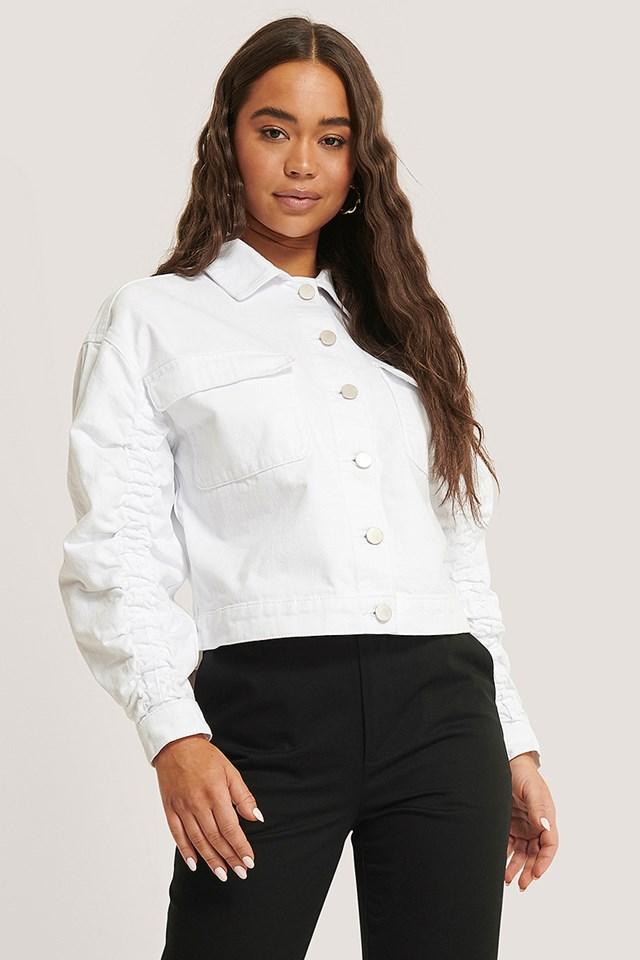 Sleeve Detail Denim Jacket White