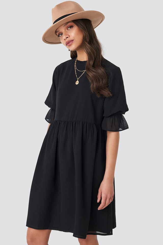 Chiffon Mini Dress Black