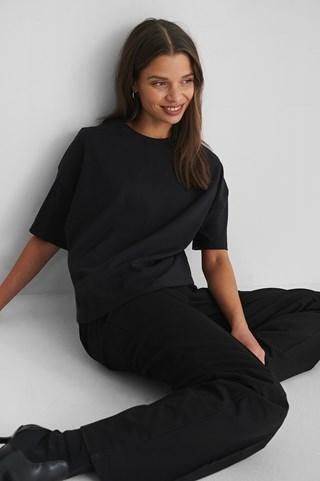 Black 3/4 Sleeve Oversize T-Shirt