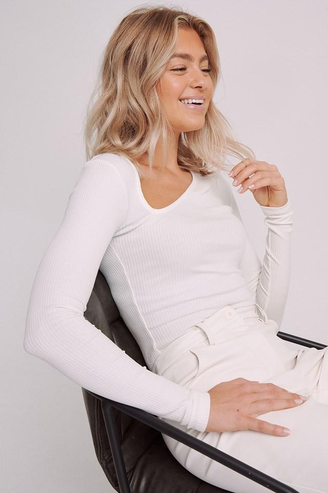 Asymmetrical V-Neck Ribbed Top White