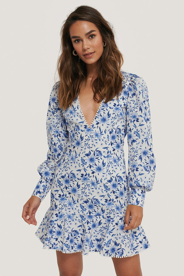 Deep V-neck Wide Shoulder Mini Dress Flower Print