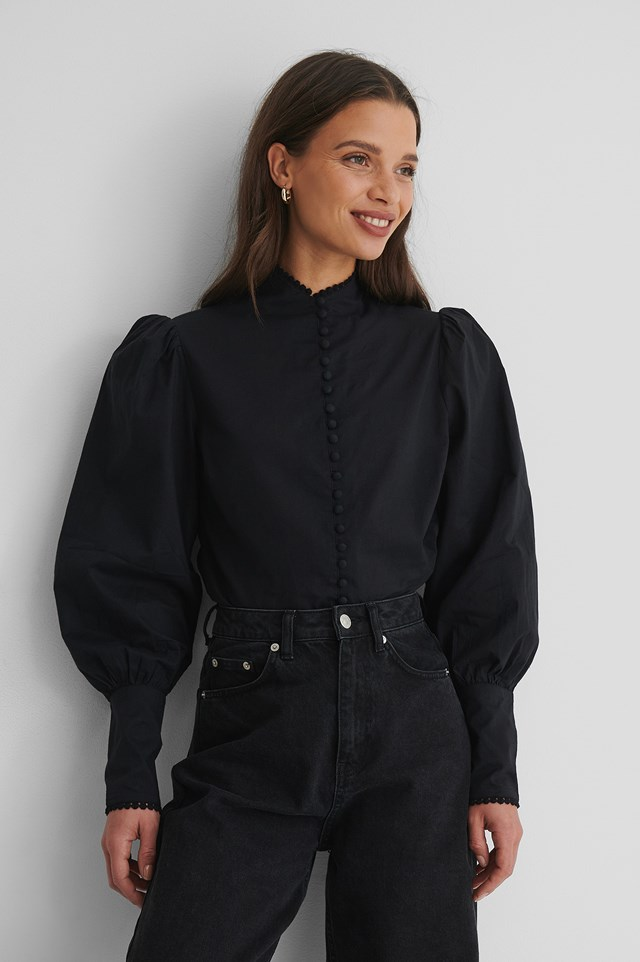 Black Front Button Blouse