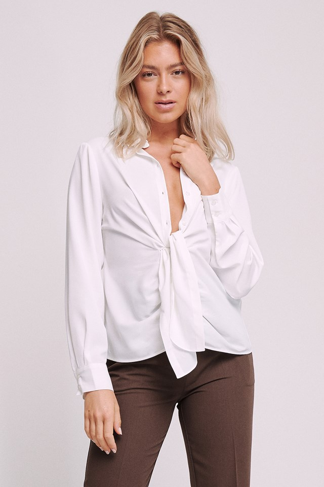 Front Draped Blouse Offwhite