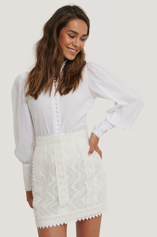 Lace Anglaise Mini Skirt White