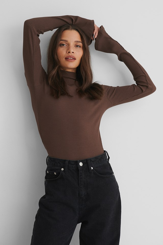 Ribbed High Neck long sleeve Top Brown