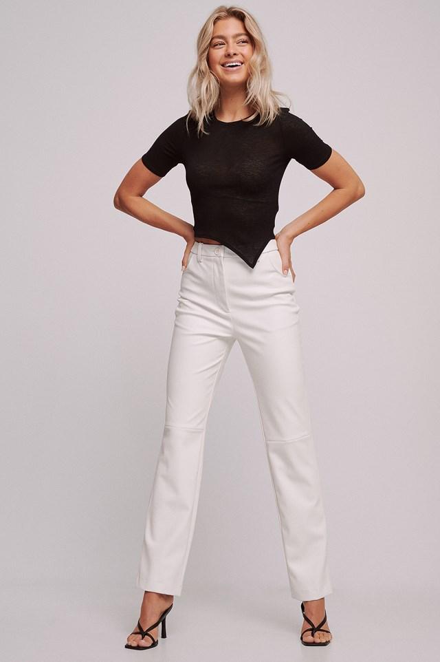 Recycled Straight High Waist PU Pants White