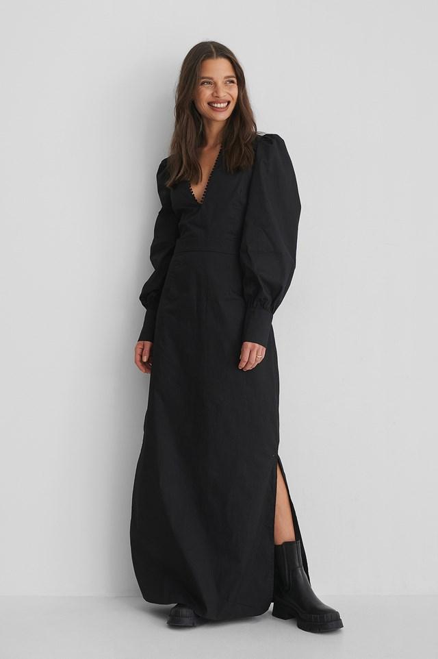 V-Neck Maxi Dress Black
