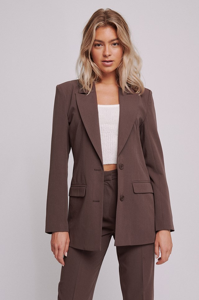 Long Oversized Blazer Brown