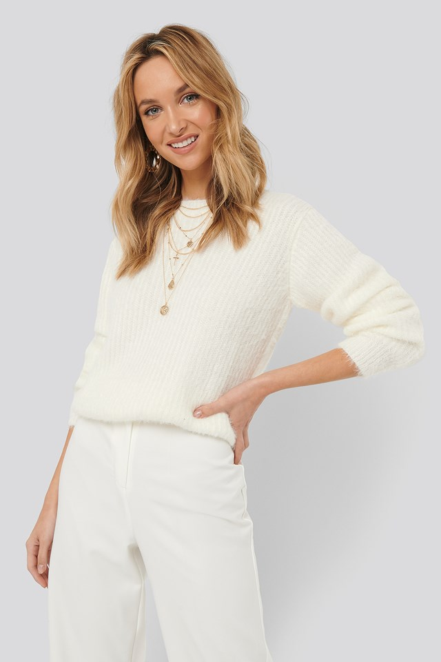 Knitted Roundneck Sweater White