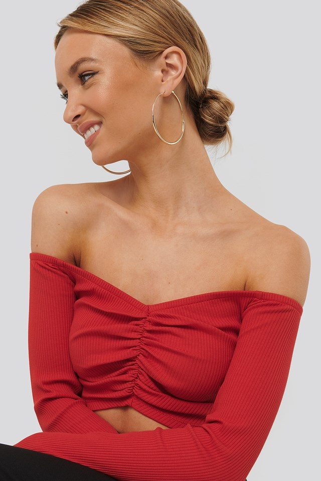 Off Shoulder Gathered Top Red