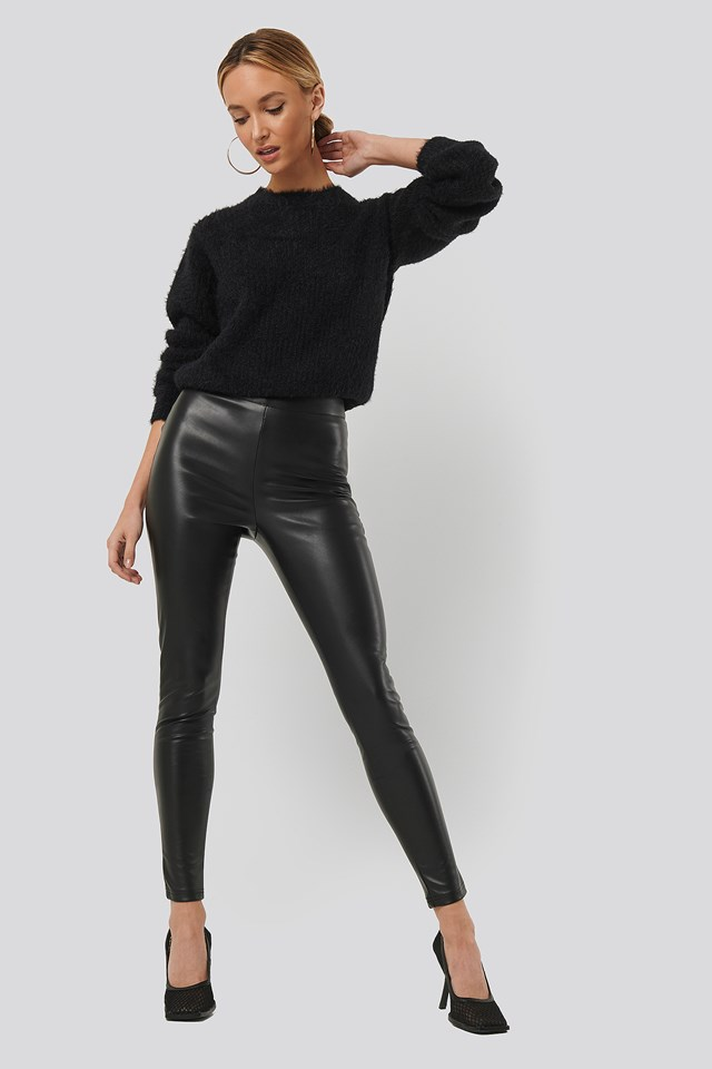 PU Slim Pants Black