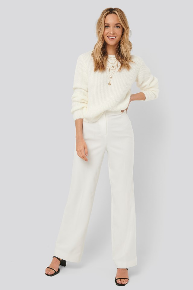Wide Leg Suit Pants White