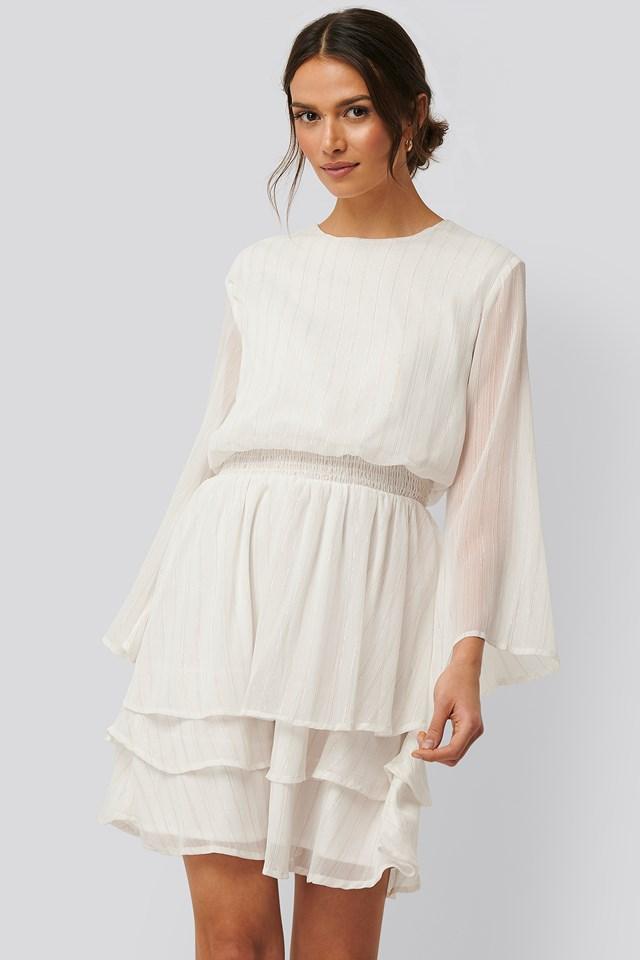 Nicoline Lurex Dress Cream Gold
