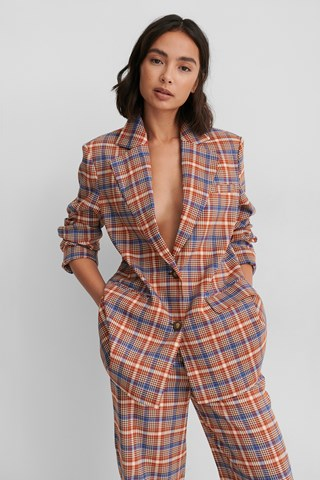 Checked Recycled Checked Oversized Blazer