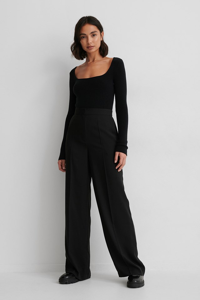 Black Recycled High Waist Suit Pants