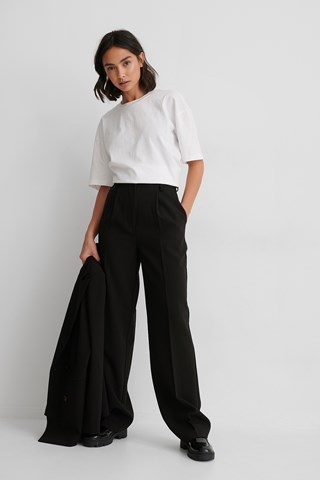 Black Recycled Loose Fit Suit Pants