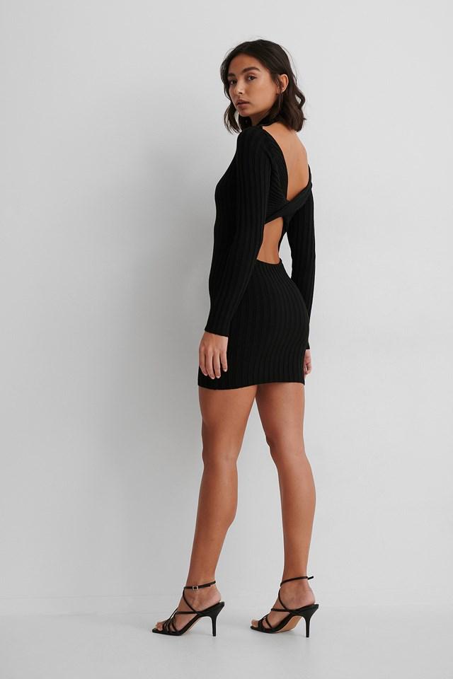 Black Recycled Twisted Back Mini Dress