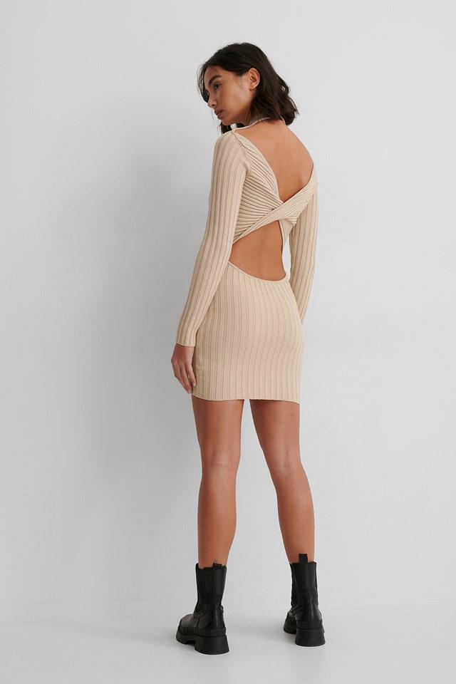 Beige Recycled Twisted Back Mini Dress
