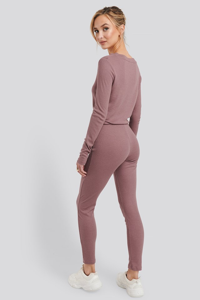 Soft Ribbed Highwaist Tights Rose Taupe