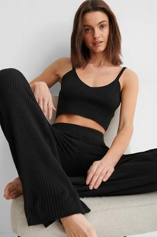 Black Soft Ribbed Pants