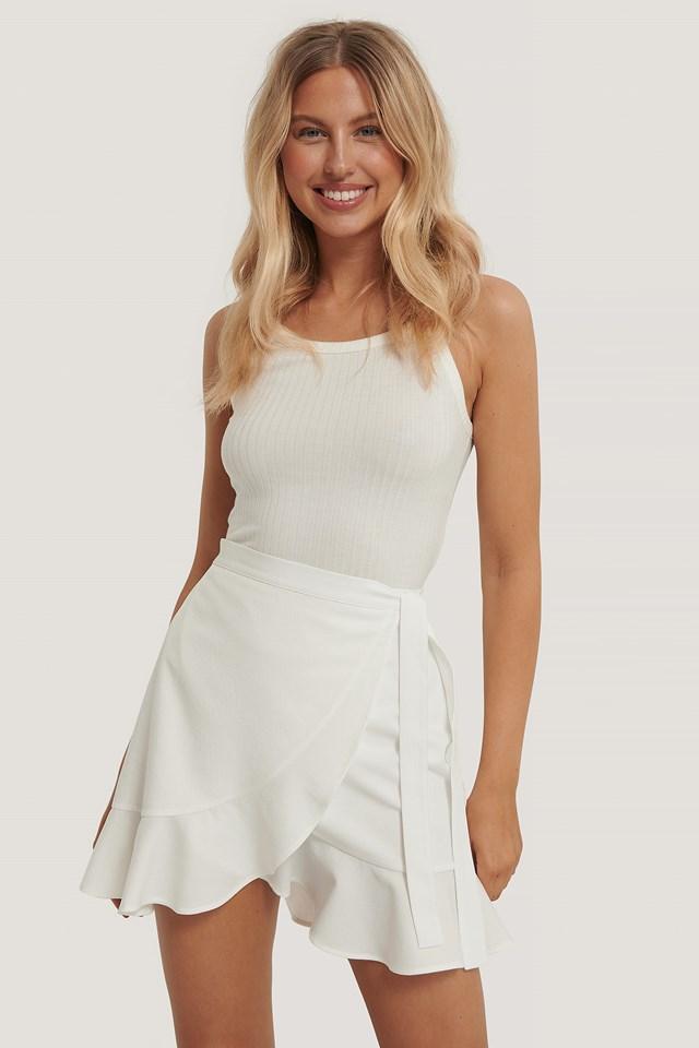 Aino Rossi Flounce Overlap Mini Skirt White