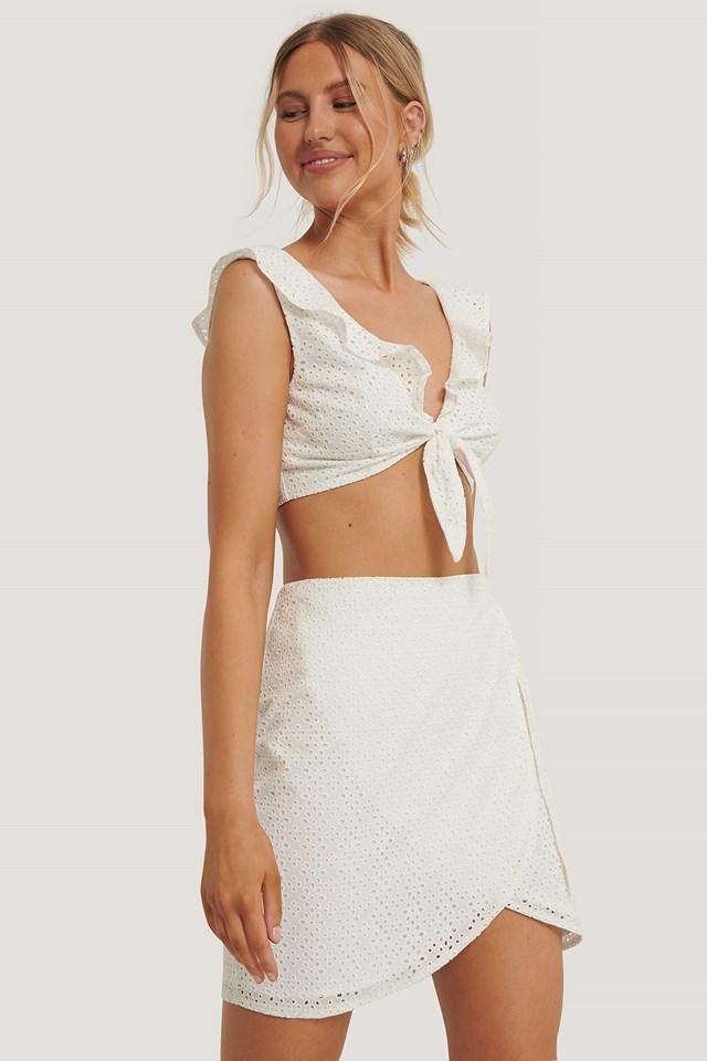 Karina Tschäry Overlap Tied Mini Skirt White