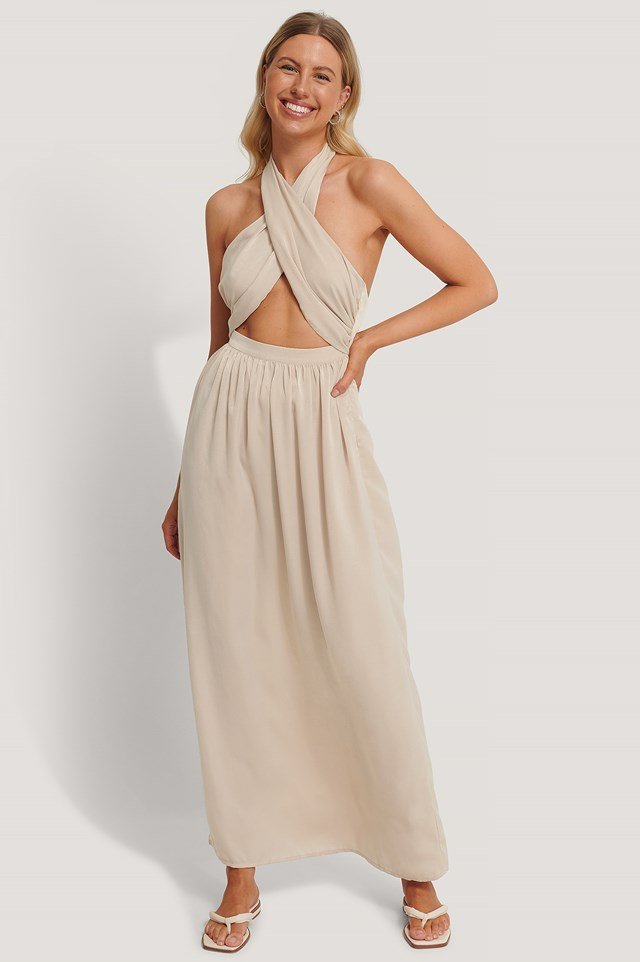 Crossed Front Maxi Dress Sand