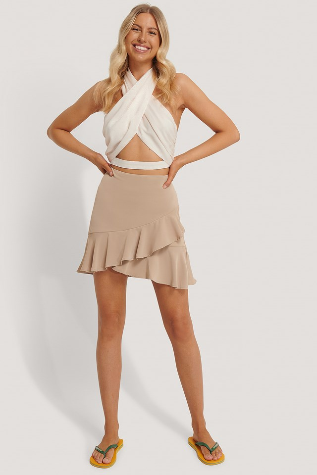 Flounce Mini Skirt Sand