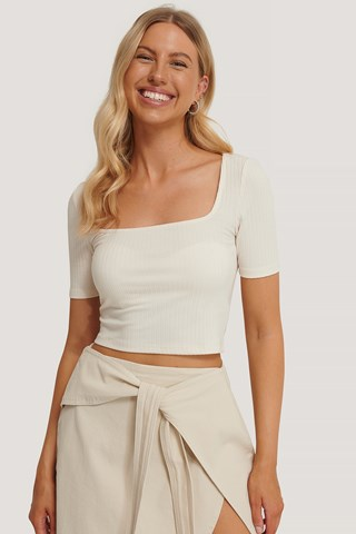Eggshell Ribbed Square Neck Top