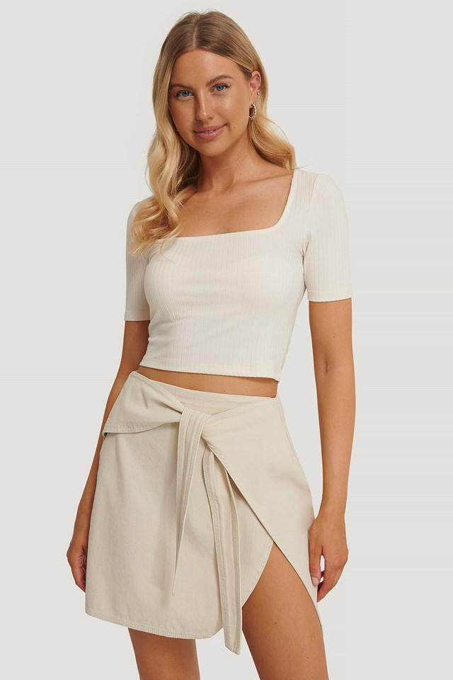 Knot Detail Mini Skirt Eggshell
