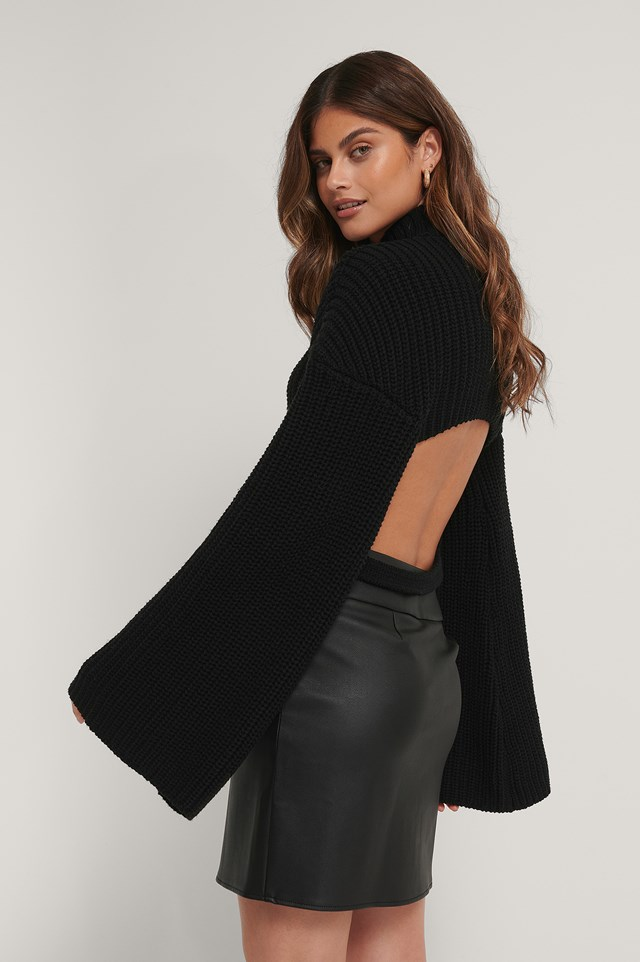 Cut Out Back Knitted Sweater Black