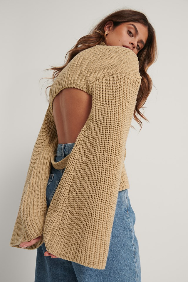 Cut Out Back Knitted Sweater Beige
