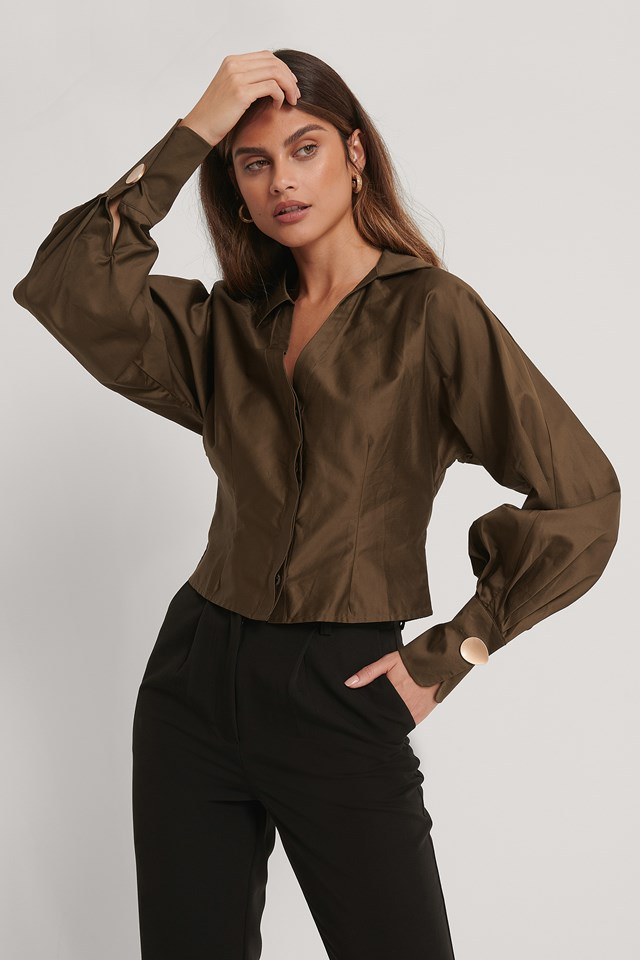 Deep V-neck Big Arms Blouse Dark Brown