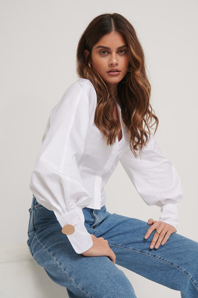 Deep V-neck Big Arms Blouse White