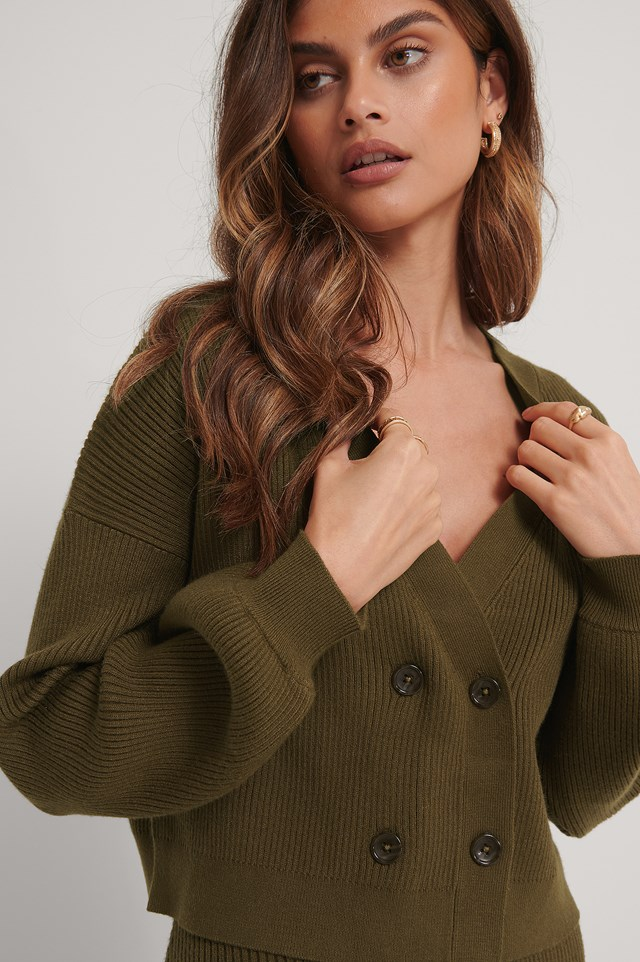 Knitted Balloon Arms Cardigan Dark Brown
