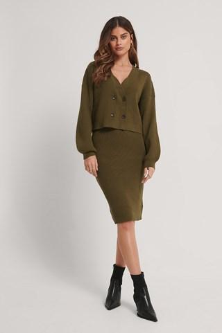 Dark Brown Knitted Midi Skirt