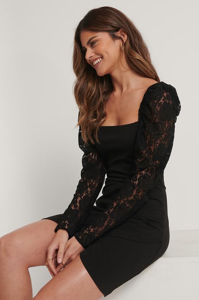 Lace Arms Overlap Dress Black