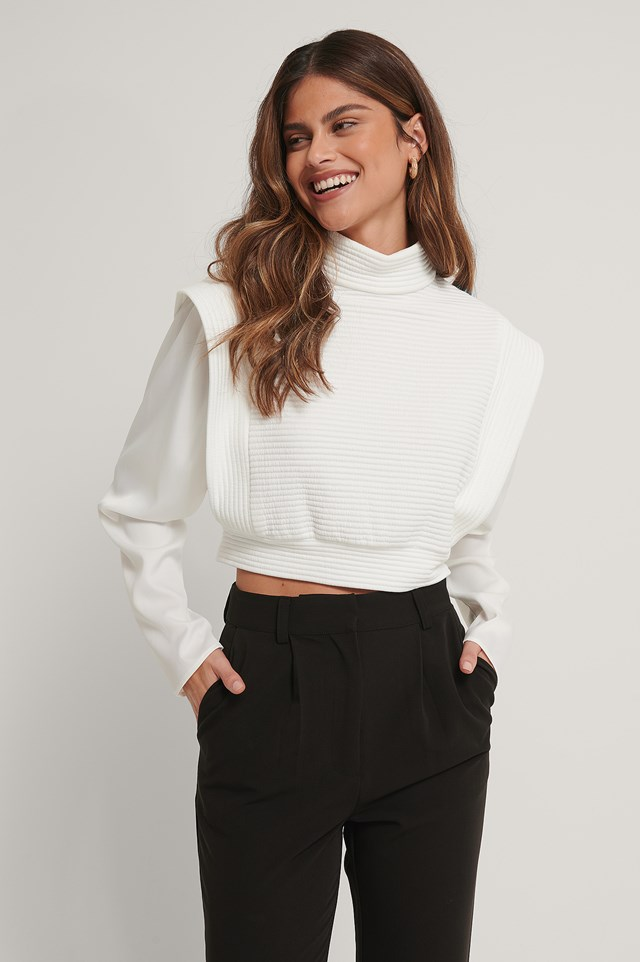 Quilted Big Shoulder Sweater Offwhite