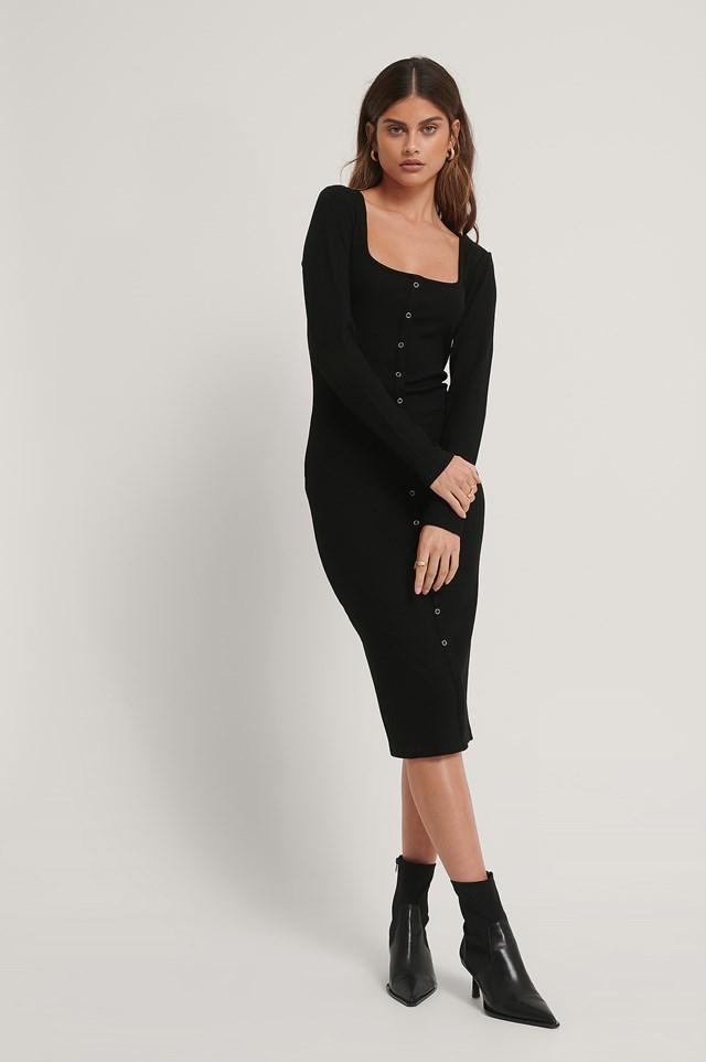 Square Neck Front Button Midi Dress Black