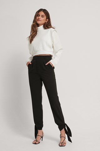 Black Tie Detail Suit Pants