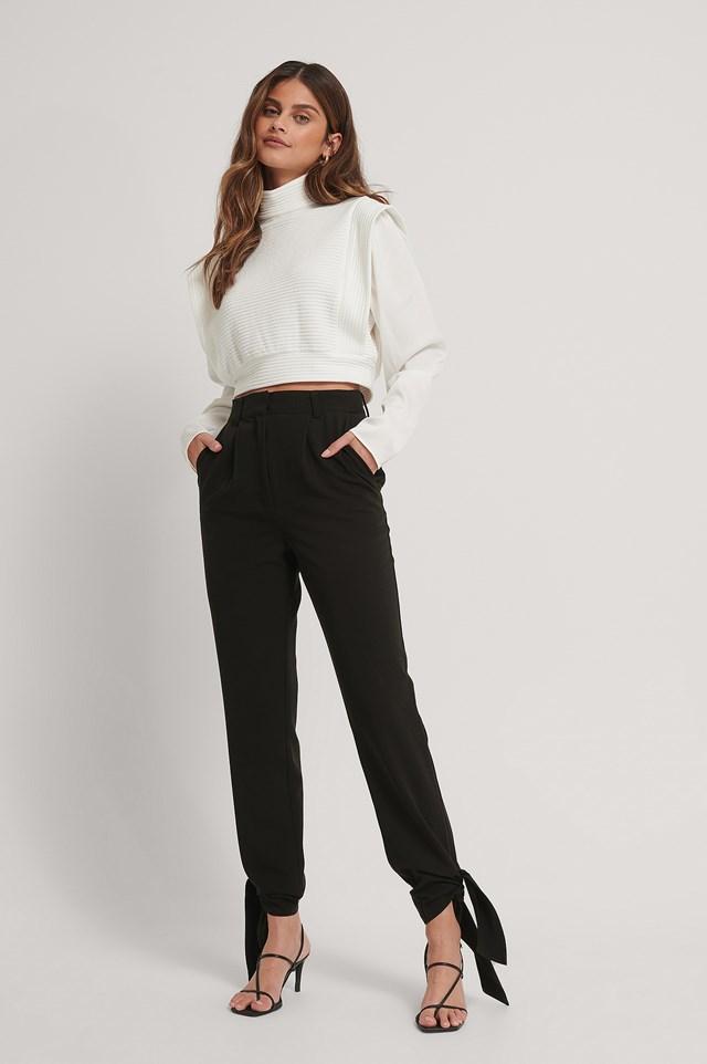 Tie Detail Suit Pants Black