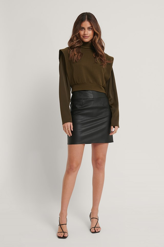 Waist Detail Pu Mini Skirt Black