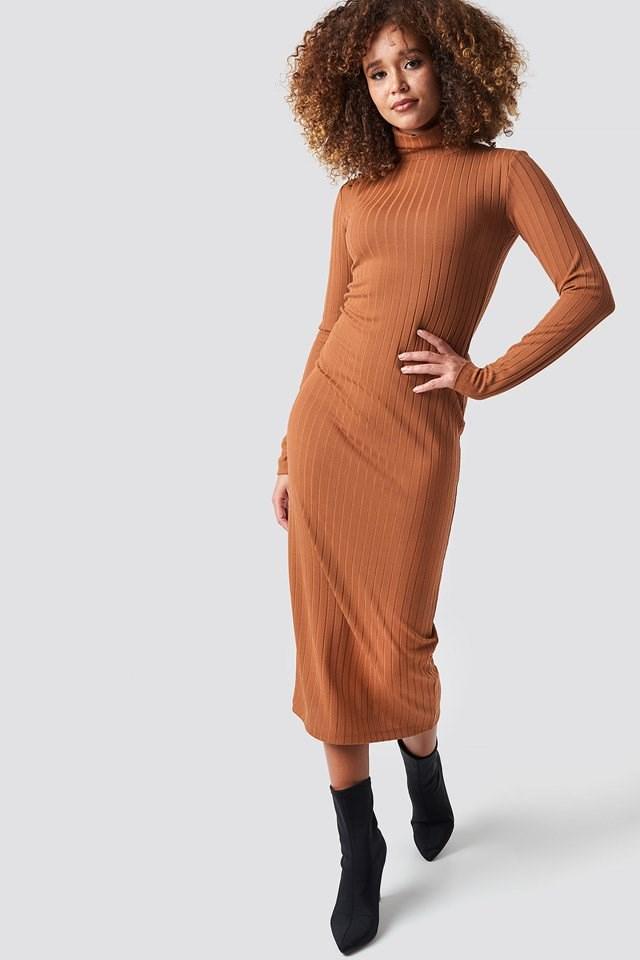 Orange Ribbed Polo Dress.