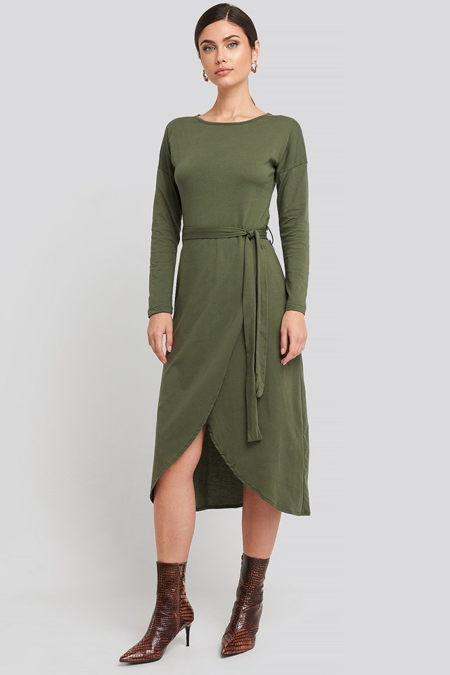 Waist Binding Detailed Midi Dress Green Outfit