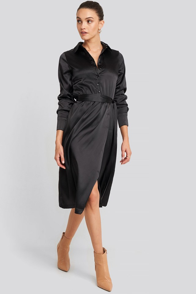Belted Wrap Midi Dress Black Outfit