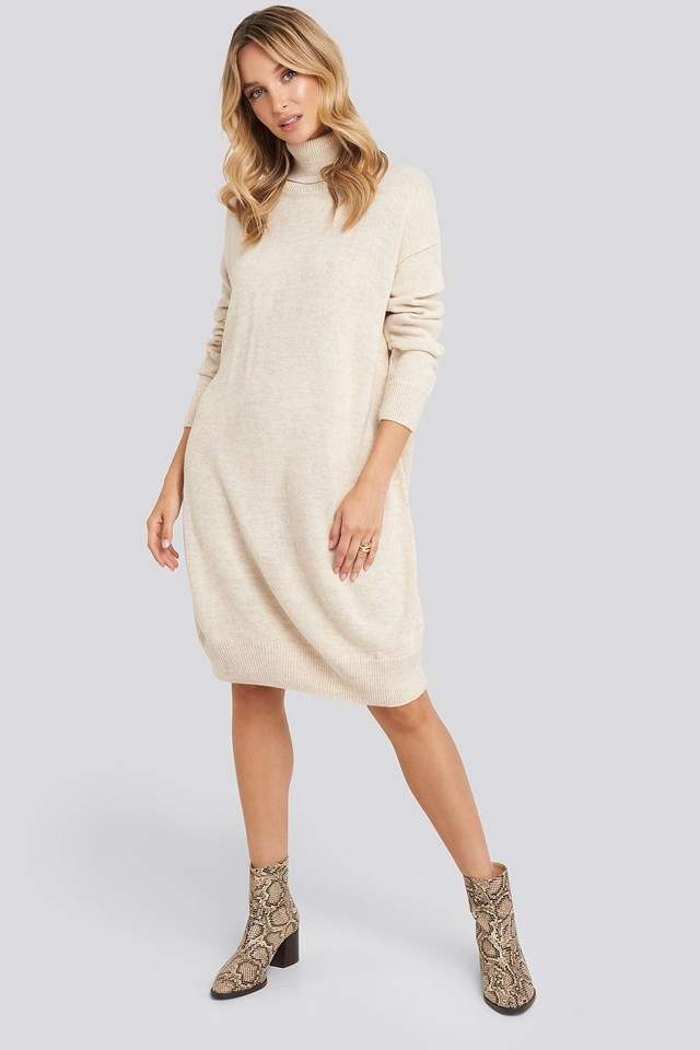 Turtleneck Knitted Dress Beige Outfit