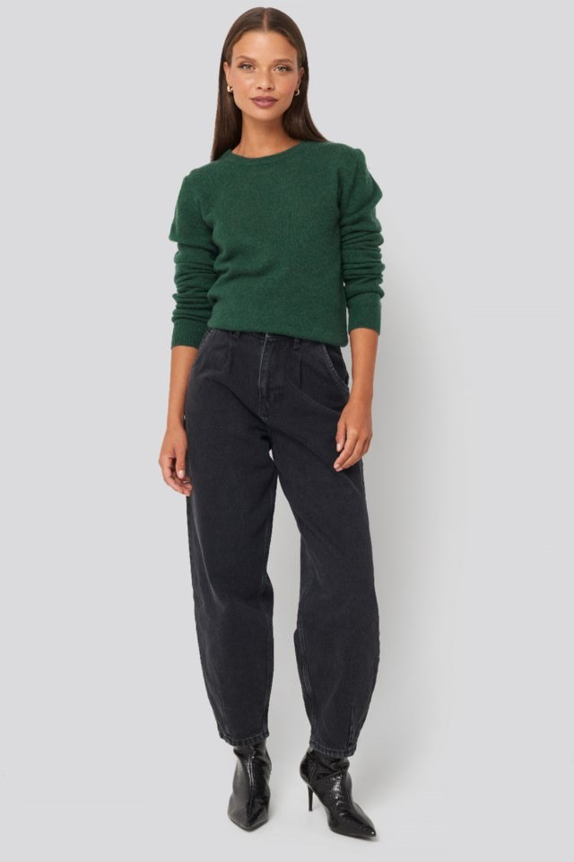 Pure Cashmere O-Neck Pullover Green Outfit